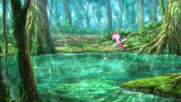 Shiny Celebi floating above a pond in a forest