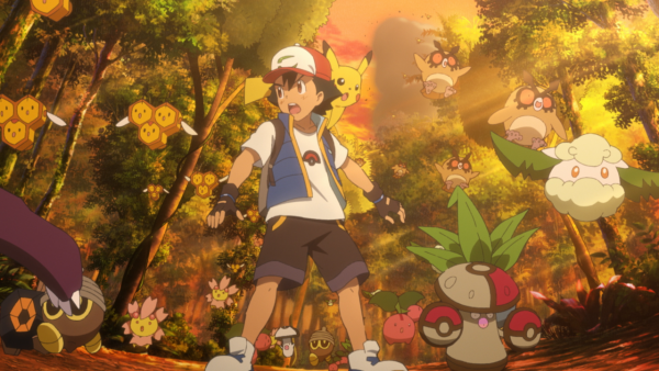 Ash Ketchum and surrounding Pokémon looking confused