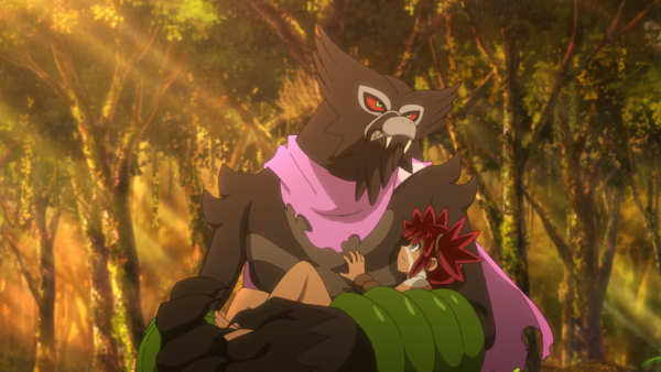 Zarude with pink scarf holding the boy Koko