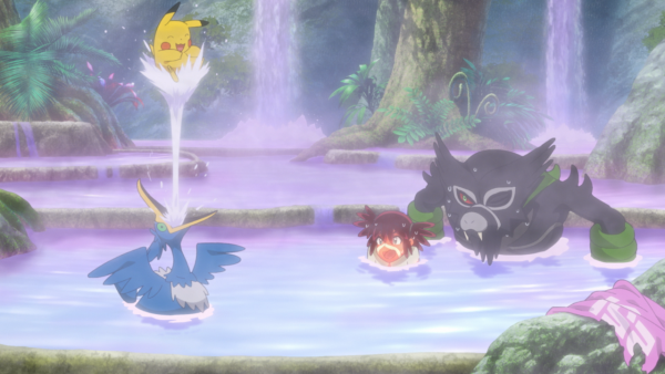 Koko, Zarude, Cramorant and Pikachu in hot springs